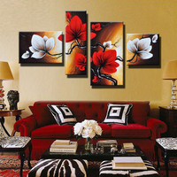 Hand Painted Modern Abstract Flower Oil Painting Red White Wall Art Canvas 4 Panel Home Decoration Picture For Living Room Sale