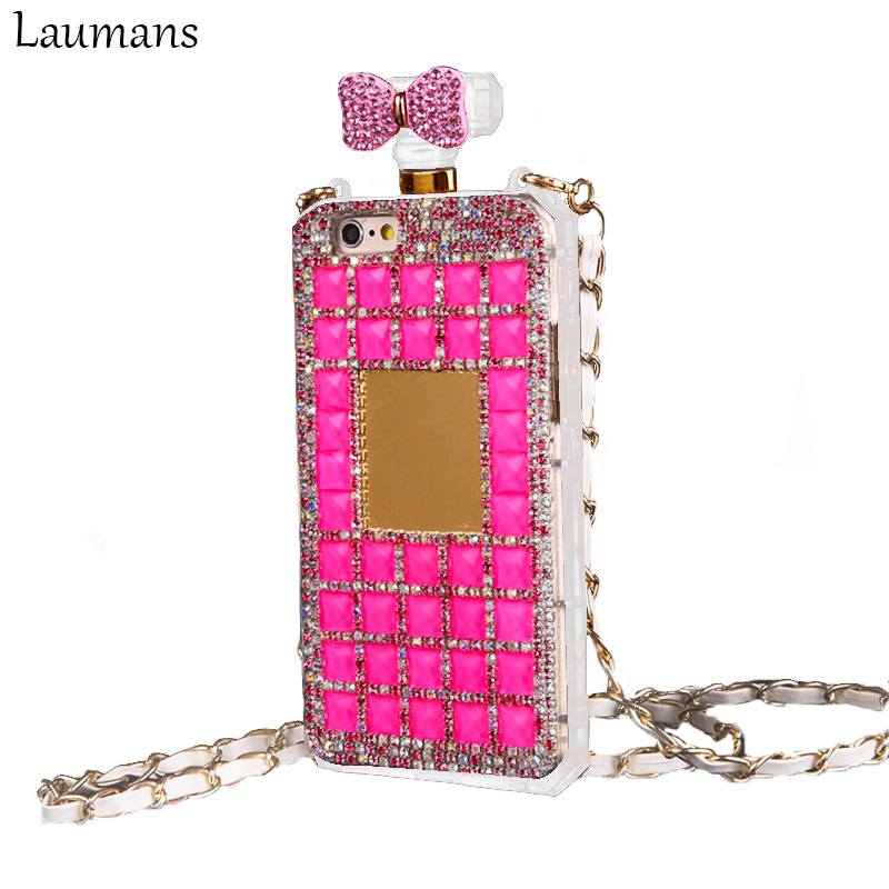 Laumans Diamond Bowknot Perfume Bottle TPU cover Rhinestone Phone Case For iphone 5s 6 6s 6plus 7 plus Crystal Cover with Chain