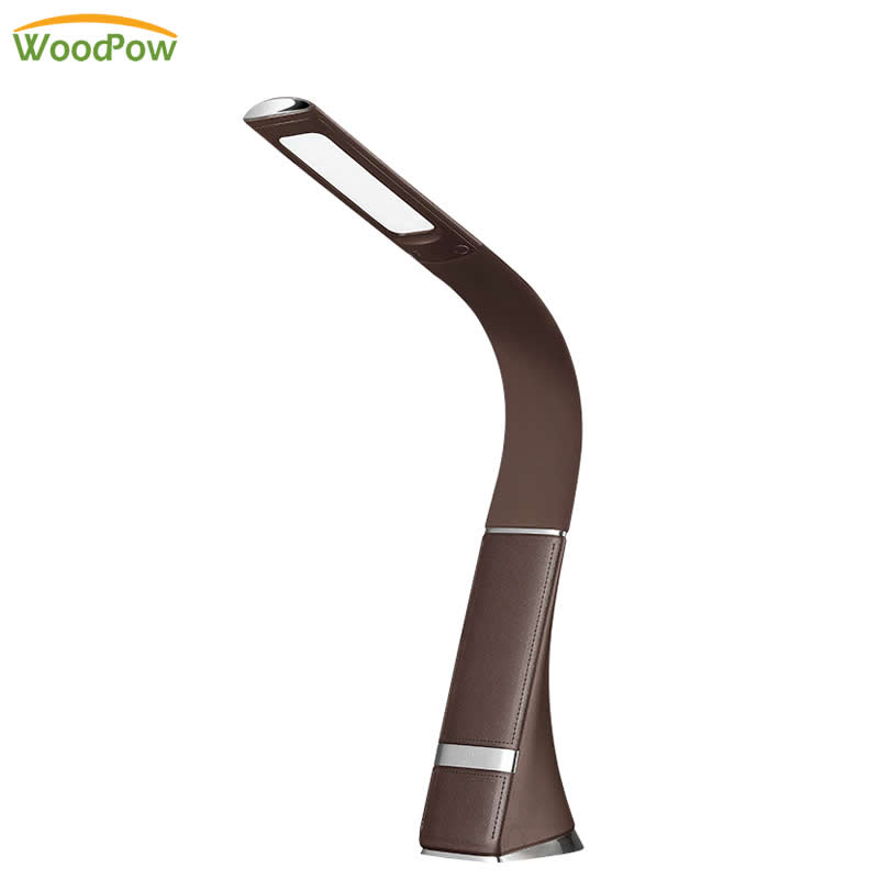 Rechargeable LED Desk Lamp Dimming Touch Business Flexible Leather Light Eye-protection Table Lamp for Learning Work Office