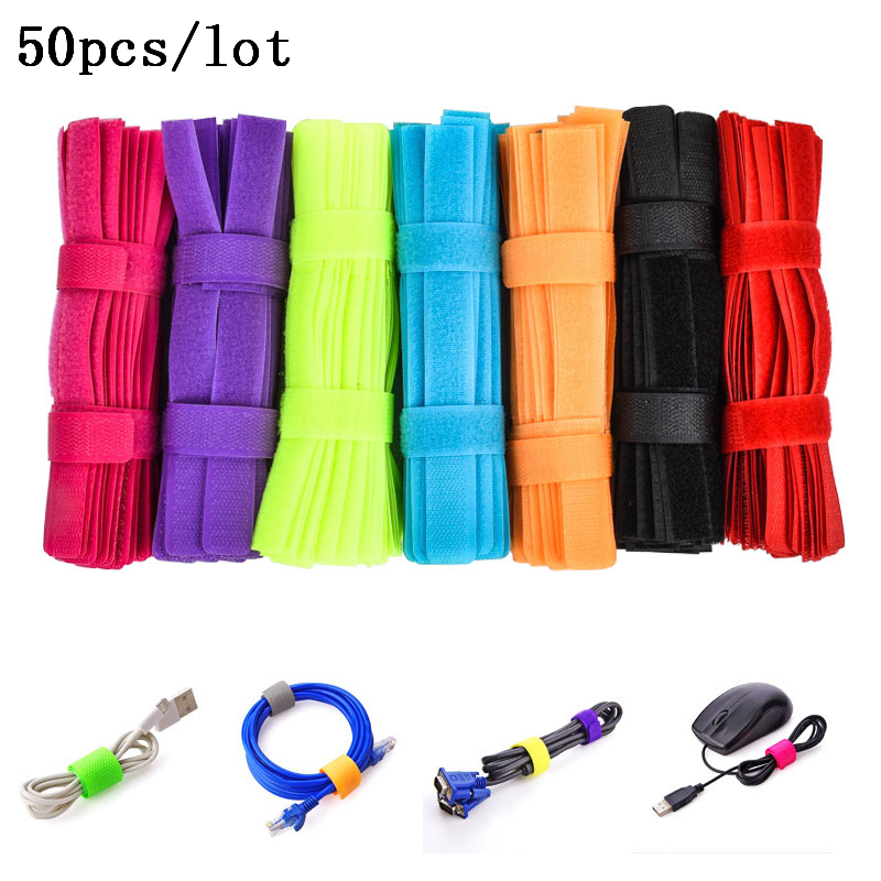 50 PCS/lot High Quality Magic PC TV Computer Wire Cable Ties Organizer Maker Holder Management Straps Magic Tape Cable winder kx 50 t shaped nylon velcro band cable management ties set green 50 pcs