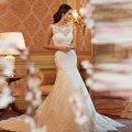Baratos Praia Vestido de Casamento Do Laço Da Sereia 2017 Sexy Tulle Backless Romântico Vestidos de Noiva Custom Made Plus Size Vestidos De Novia