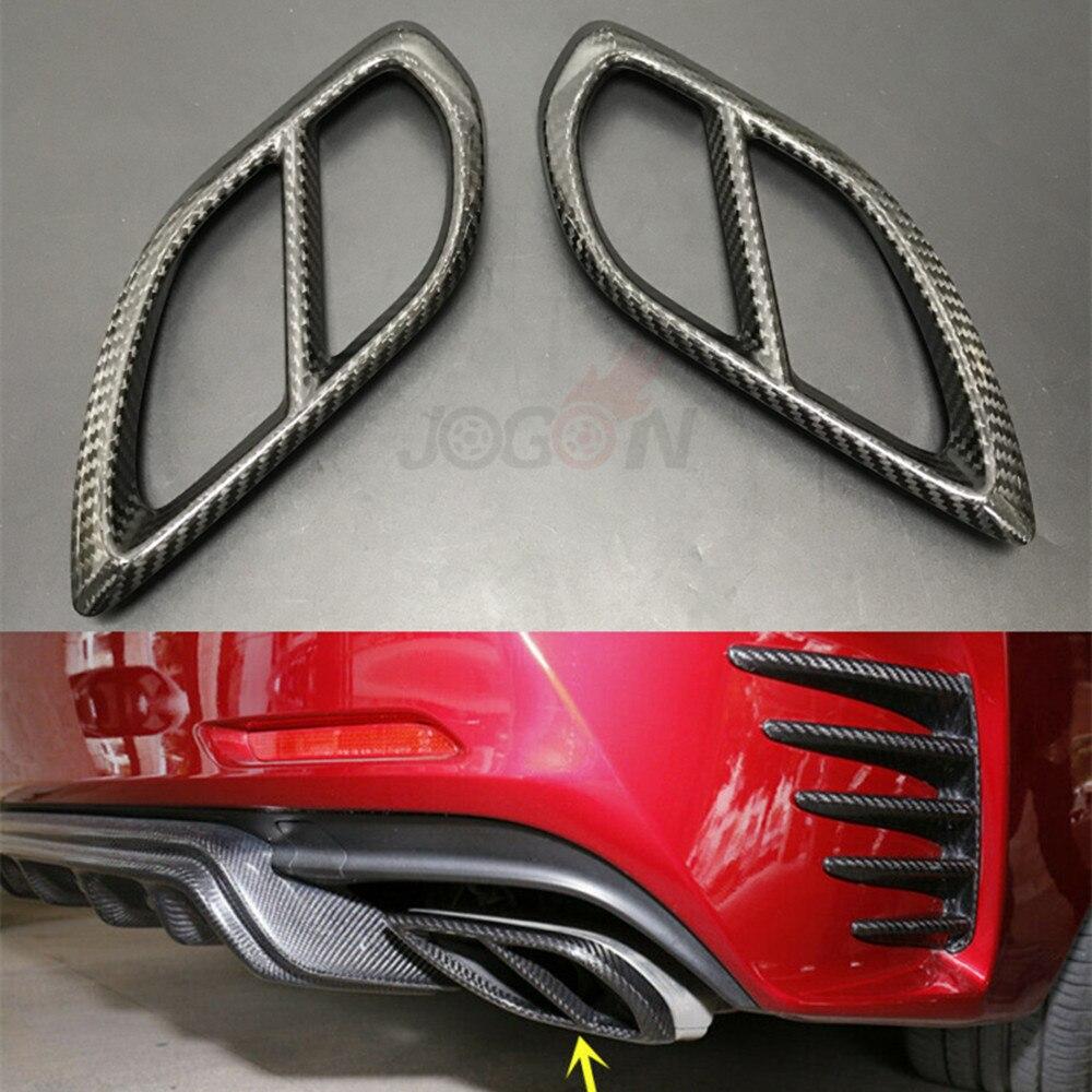Garniture de couvercle de tuyau d'extrémité de silencieux d'échappement arrière double en Fiber de carbone réelle pour Lexus RC200t RC300h RC300 RC350 RC F SPORT 2015-2018