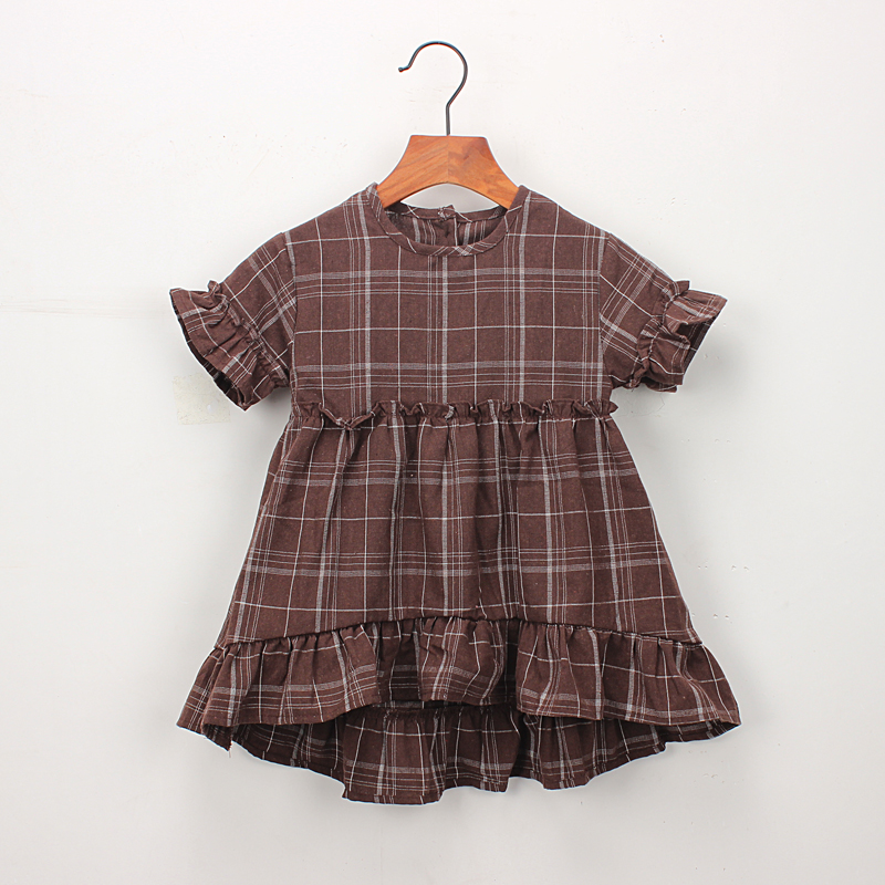 Hurave short sleeve ruffles crew neck dress New baby Summer Girl clothes Kids Clothes Casual cotton plaid button dresses v neck plaid twist front mini dress