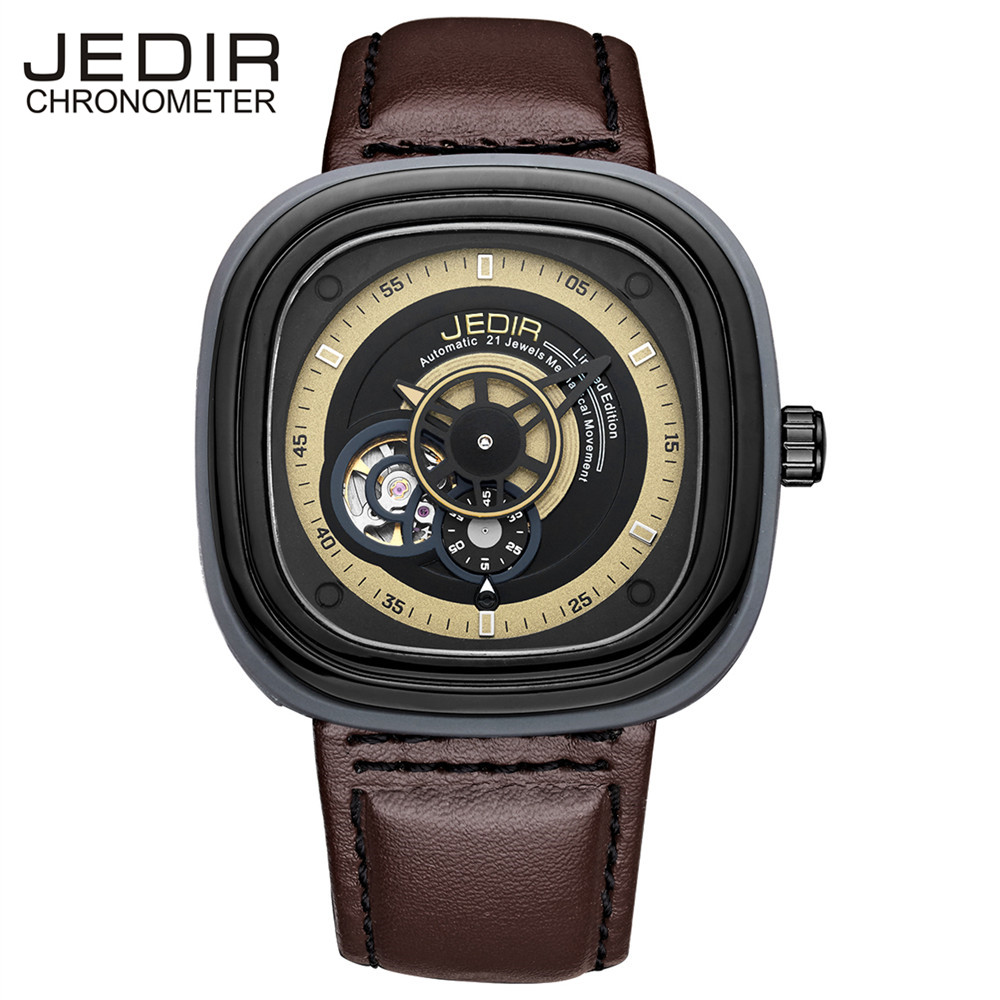 JEDIR Men Watches Men Leather Strap Automatic Mechanical Watch Male Fashion Casual Clock Relogio Masculino birthday gift N26 unique smooth case pocket watch mechanical automatic watches with pendant chain necklace men women gift relogio de bolso