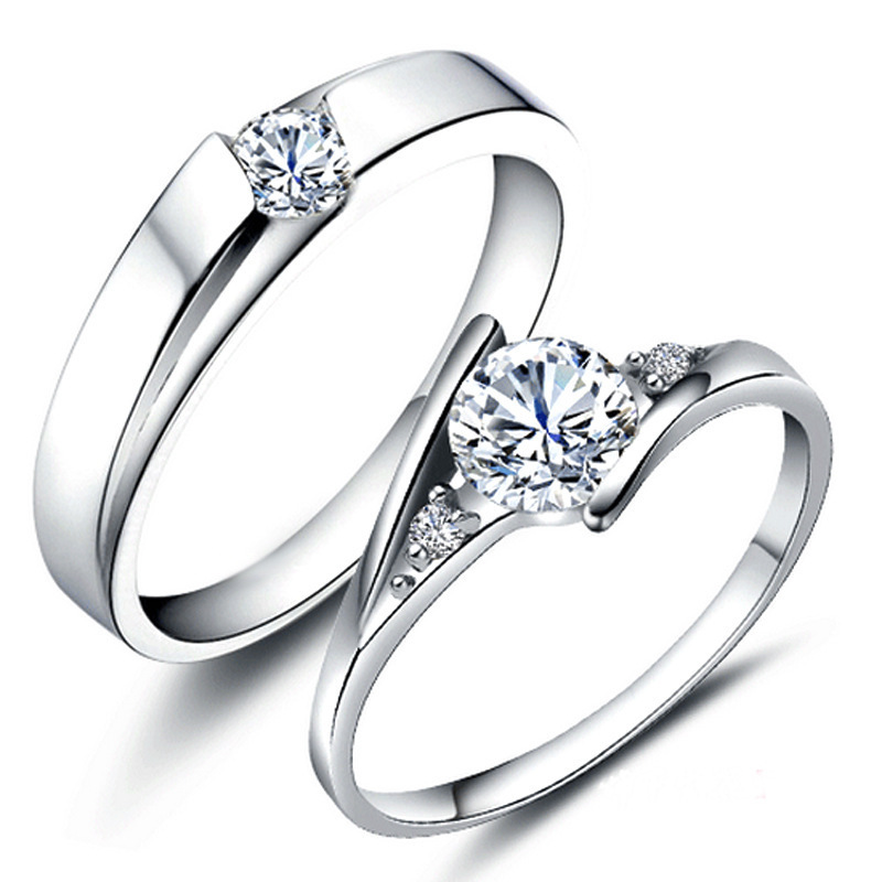 Rings Sliver-Color Anillos-Silver-Jewelry 925 Engagement/wedding-Rings Women Lovers Fashion