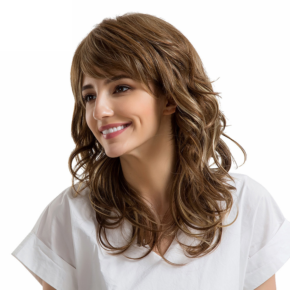Fashion Wig Linen Brown Multi-layered Natural Long Hair Wigs Human Hair Women Wig inclined bang short layered straight colormix human hair wig