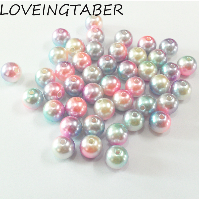 (Choose Size First) 6mm/8mm/10mm/12mm Light Pink/Purple/Blue Colorful Acrylic Imitation Pearl Beads For DIY Kids Jewelry