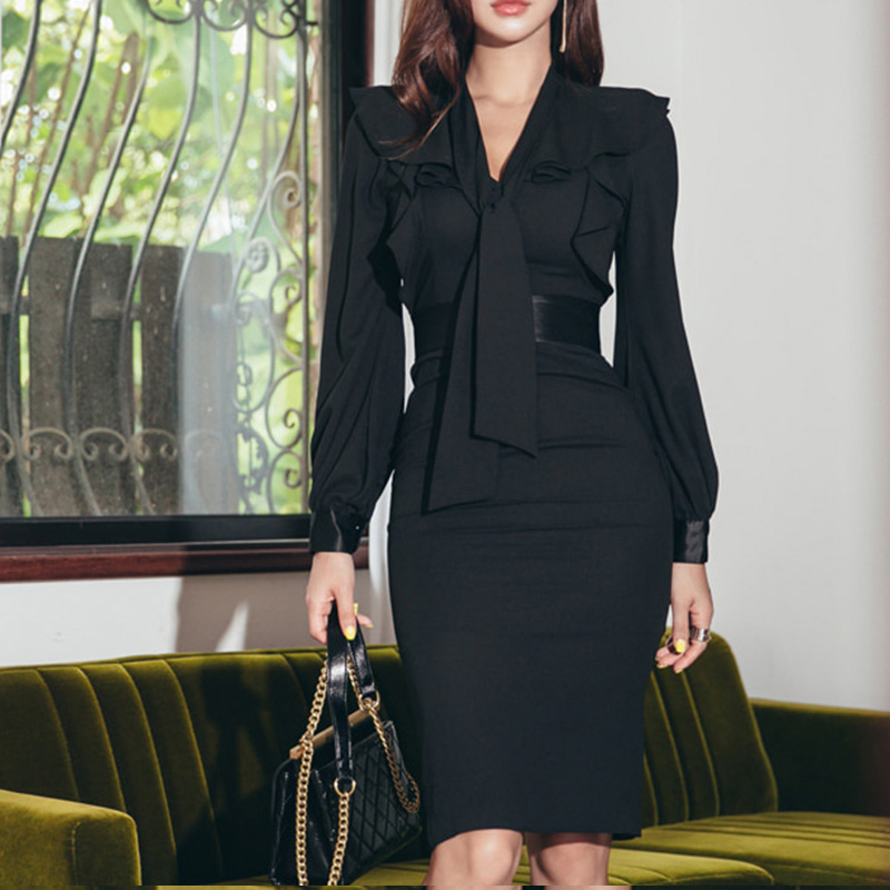 Party Elegant Solid Bow Collar Lantern Sleeve Spring Office Lady Women Sheath Ruffles Black Dresses