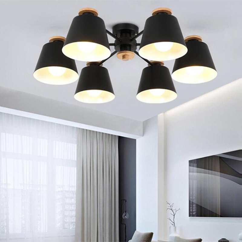 Nordic Multi Color Loft E27 220V Log Two Styles Chandelier For Kitchen Living Room Bedroom Restaurant Warm Wrought Chandelier