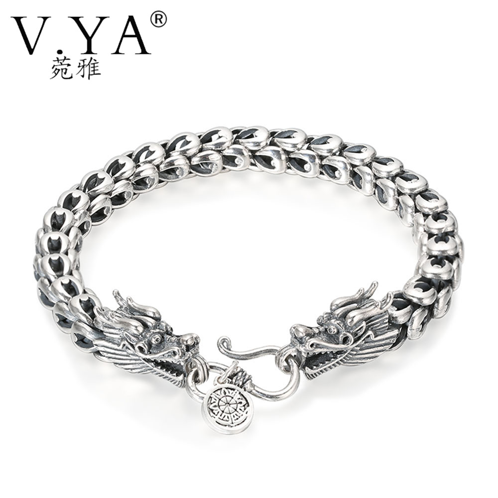 V.YA Punk Men Jewelry Dragon Bracelets 100% Thai Silver Bracelets for Men Heavy Thick Punk Bracelet Retro Silver Bracelet Men 925 sterling silver men bracelet dragon scale bracelet men s coarse heavy thai silver chain punk fashion personality bracelet