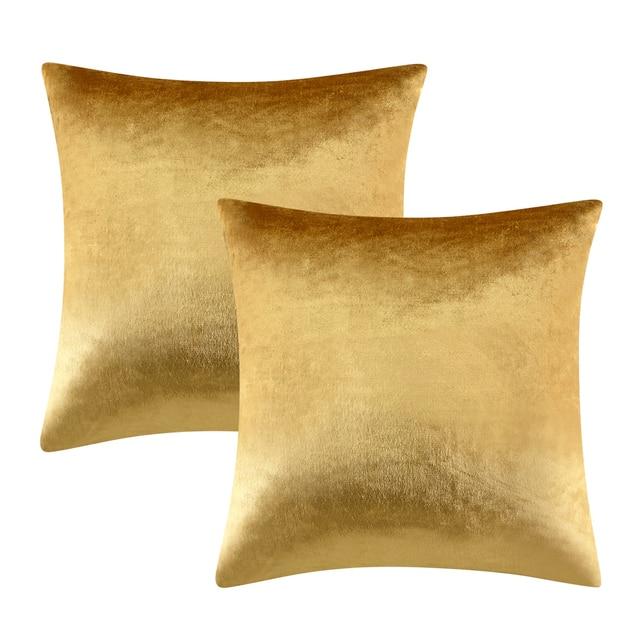 GIGIZAZA 2 Confezioni Oro Shinny velluto Decorativo Coperte e Plaid Cuscino Cope
