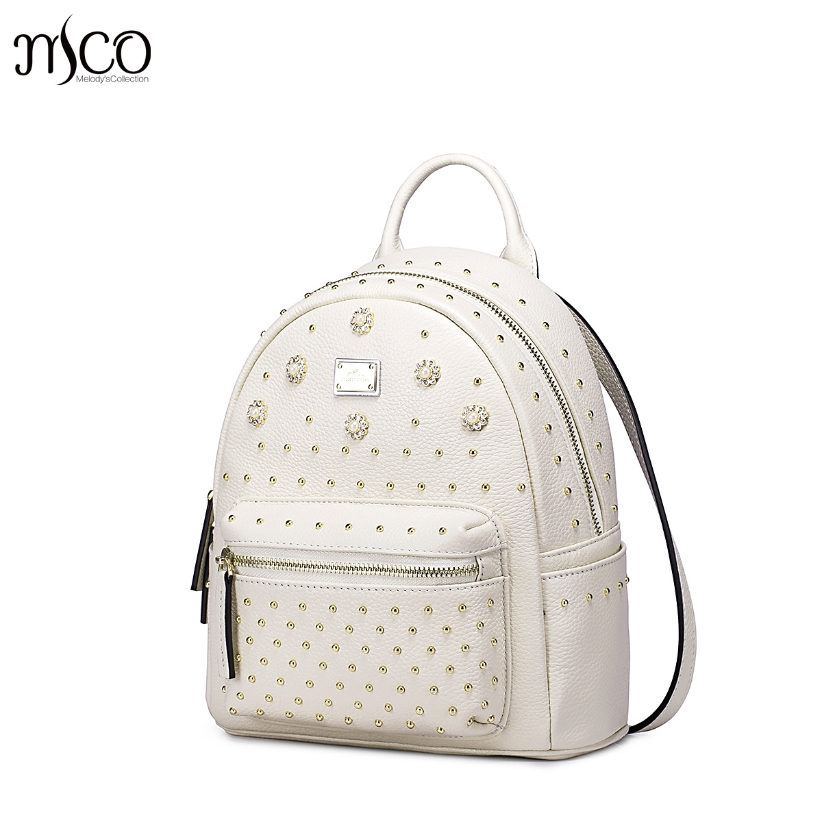 ФОТО Women Genuine Leather Backpack Fashion Rivet Diamond Litchi Grain Head Cowhide Girl Daypack Top-handle Double Shoulder Tote Bag