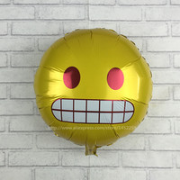 XXPWJ Free Shipping New Round expression surprised aluminum balloons balloons party balloons wholesale children's toys J-001