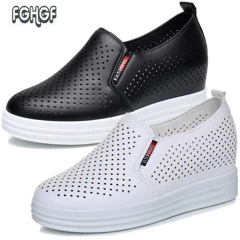 Summer woman wedges platform slip-on shoes for women loafers ladies Breathable Mesh Hollow crystal Black white shoe Female tufli 2018 women fashion diamond casual shoes summer slip on breathable mesh shoes woman comfort soft white sole footwear crystal flat