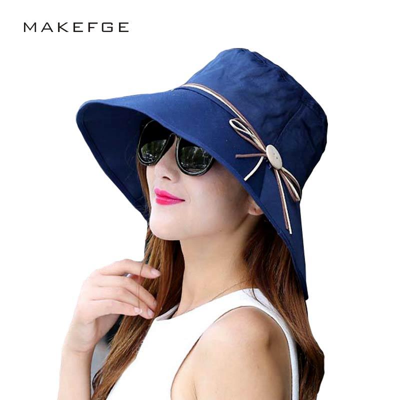 MAKEFGE female sun hat folded bow wide UV summer beach hat