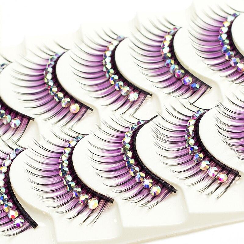 Image 2 - ICYCHEER Makeup 5 Pairs Color Glitter Diamond Eyelashes False Eye Lashes Party Cosplay Halloween Long Thick Natural Eyelash-in False Eyelashes from Beauty & Health