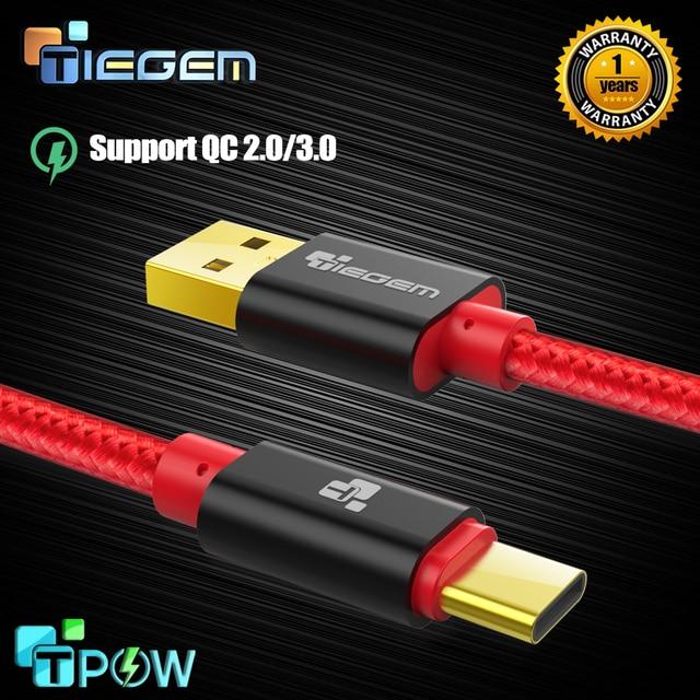 TIEGEM 3.1 USB Type Cเคเบิ้ลไนล่อนรวดเร็วชาร์จUSBประเภทC-usb-c Syncข้อมูลชาร์จสายเคเบิ้ลสำหรับO Neplus 2 Zuk Z2 N EXUS 5X6จุดXiaoMi