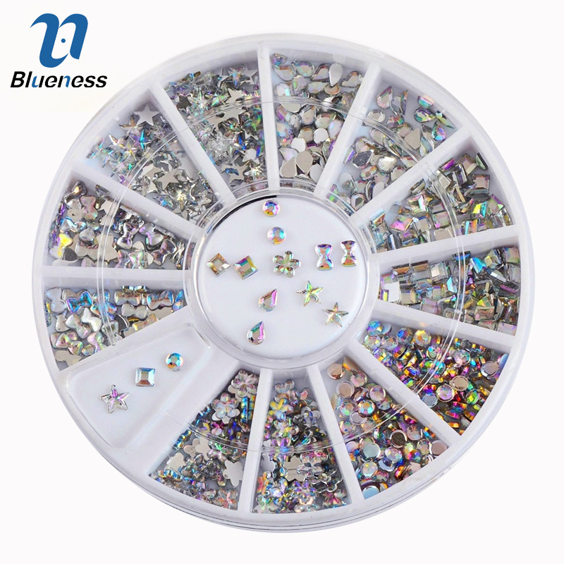 white nail art acrylic tips display round wheel Blueness 6 Design Shiny AB Acrylic Bow Water Droplets Nail Art Decorations Tips 3D Charms Nails DIY Glitter Wheel Manicure ZP025
