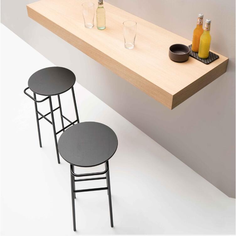 Nordic Bar Chair Iron Art Solid Wood European Bar Chair Bar Stool Modern Simple Chair Bar Chair High Stool