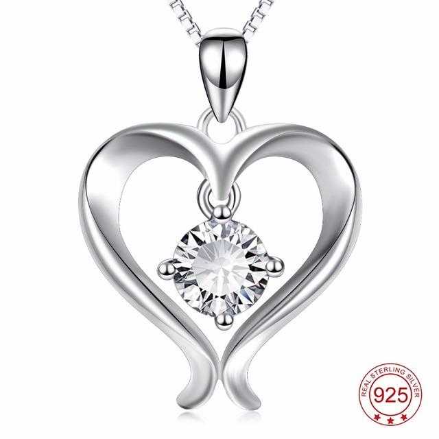 Yfn genuine 925 sterling silver cubic zirconia pendants necklaces yfn genuine 925 sterling silver cubic zirconia pendants necklaces love heart necklace fashion jewelry for women aloadofball Image collections