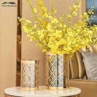 Vasos de mesa europa flor vaso forma geométrica metal ouro oco trevo flor titular para casa/decoração casamento presentes g068 Vasos     -