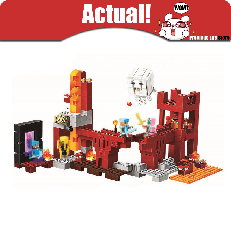 Classic My World Minecraft the Nether Fortress Building Blocks Bricks educational toys for children brinquedos lele bela 21122 detachable official removable original metal keyboard station stand case cover