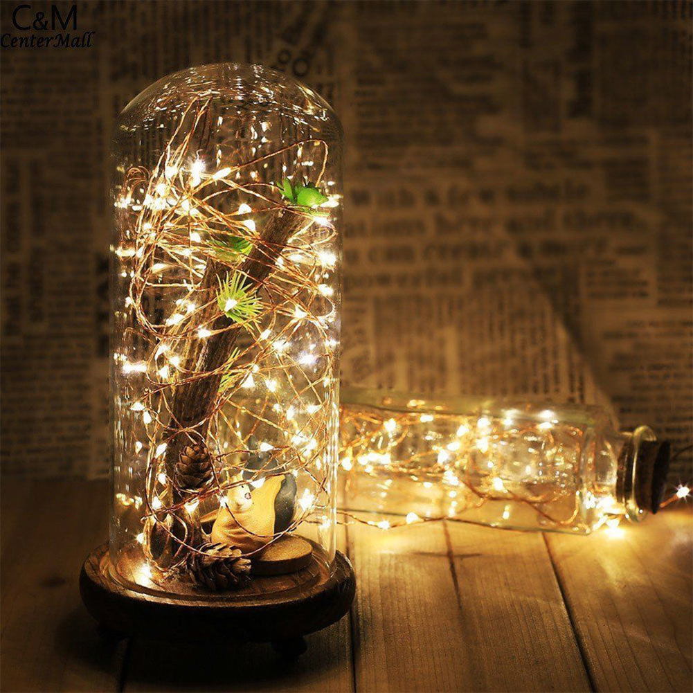 5m 50 LED Light Chain Fairy String Window Garland Silver Lighting Holiday Wedding Party Home Decoration