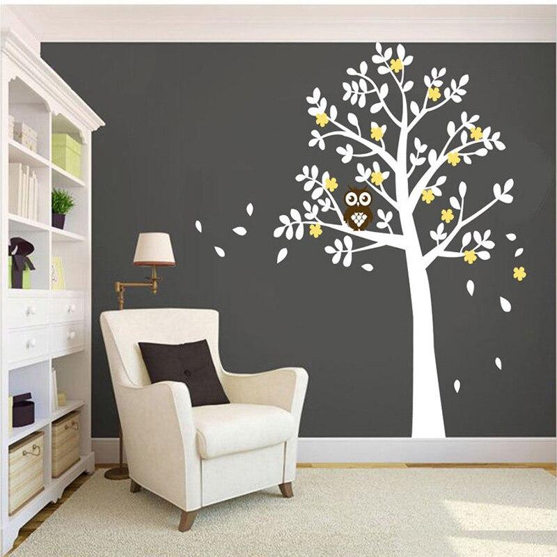 Énorme Blanc Arbre Hibou Stickers Muraux xlarge taille Décor vinyle Decal Amovible Nursery Enfants Chambre de Bébé Autocollants Décoratifs 130x180 cm