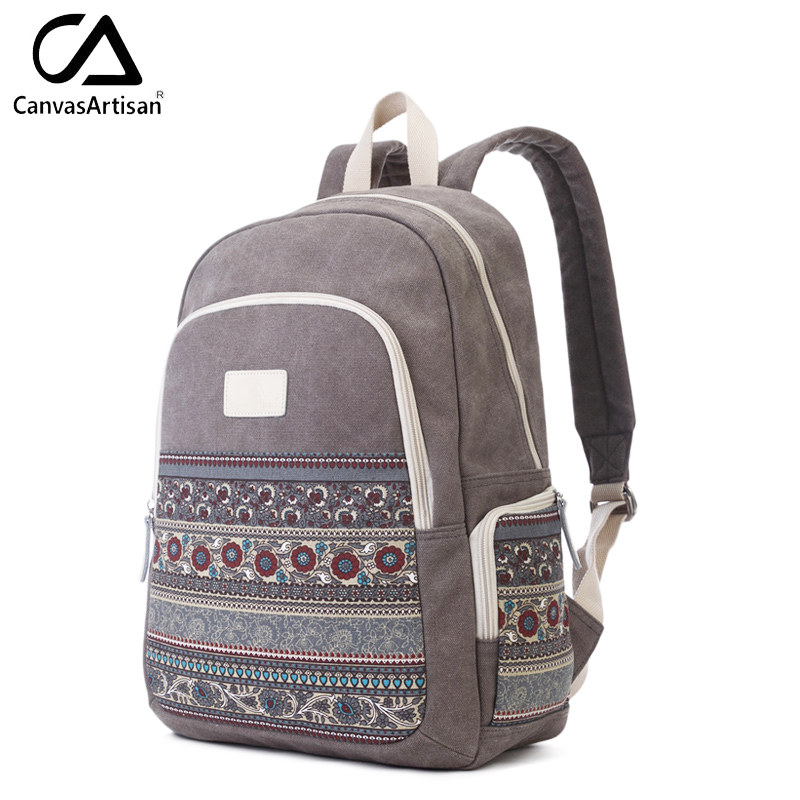 ФОТО Canvasartisan Top Quality Women Canvans Backpack Bag Female Retro Floral Style Leisure Big Capacity Travel Backpacks Grey Color