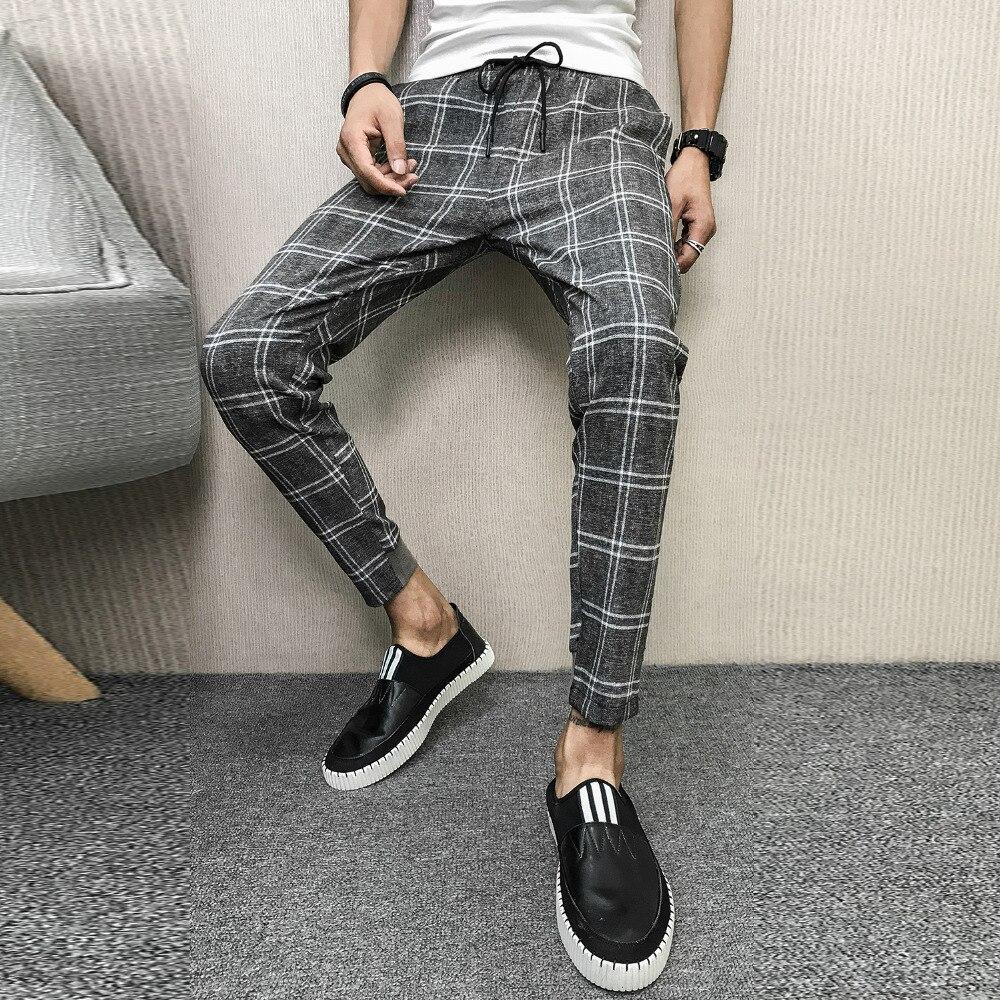 100% Wahr Koreanische Marke Neue Sommer Plaid Männer Hosen Slim Fit Casual Kordelzug Harem Hosen Alle Spiel Streetwear Hosen Männer Kleidung 2019