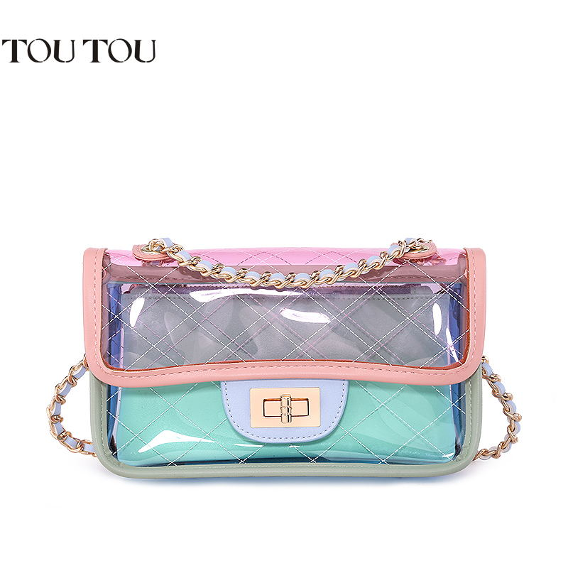 TOUTOU Shoulder bag In 2018 the new mini girl transparent jelly bag laser bag single his chain bag fashionable joker character wholetide 10 marriage gauze bag bag joker bag silver rose