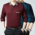 Outono Casuais Turn-down Collar Suéter de Cashmere Homens Blusas De Lã Pullover Manga Longa Camisas de Vestido Dos Homens Com Bolso Pai