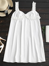 Women Sleeveless Ruffled Mini Dress Sweetheart Neck Solid White Sweet Dresses Casual 2018 Summer Beach Wear Dress Vestidos