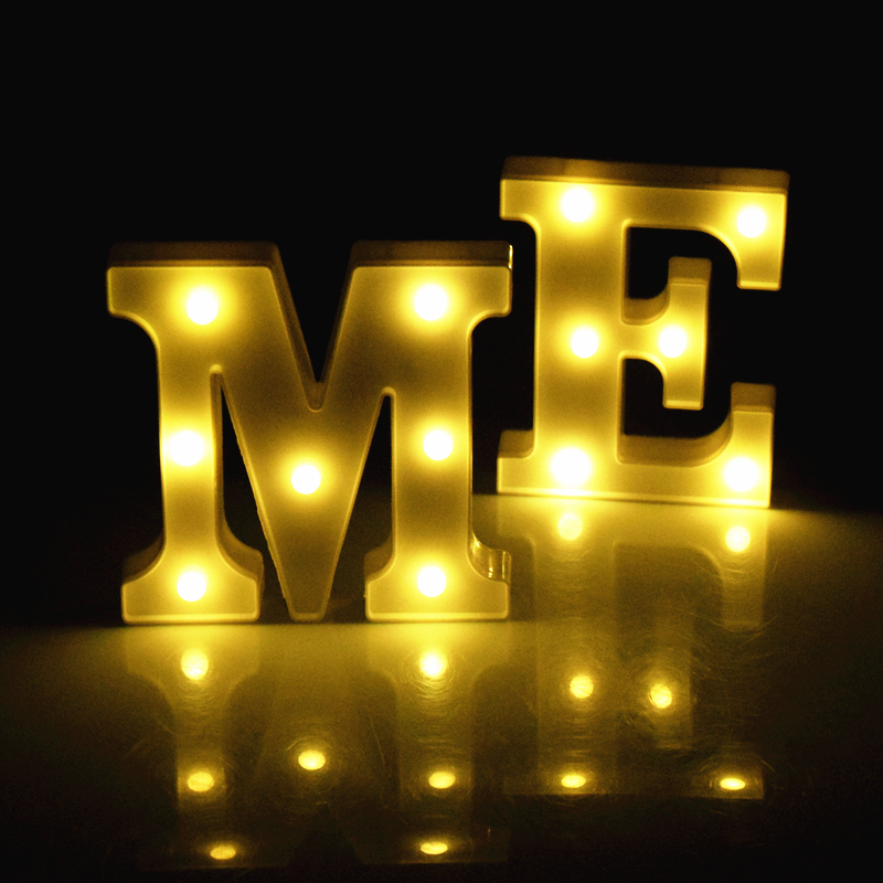 Luminous Led Letter Night Light Creative 26 English Alphabet Battery Lamps 16cm Romantic Christmas Wedding Party Home Decoration