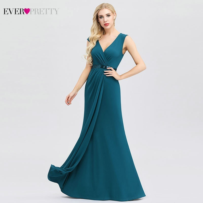 Ever Pretty Elegant Teal Mermaid Evening Dresses V-Neck Ruched Sequined Sexy Party Gowns EP00964TE Vestidos De Fiesta De Noche