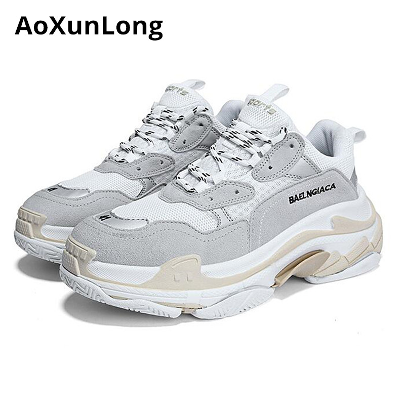 AoXunLong nouvelles baskets hommes similaires balencia chaussures hommes en cuir de vachette antidérapant chaussures décontractées unisexe EU 35-44 hommes chaussures zapatos de hombre