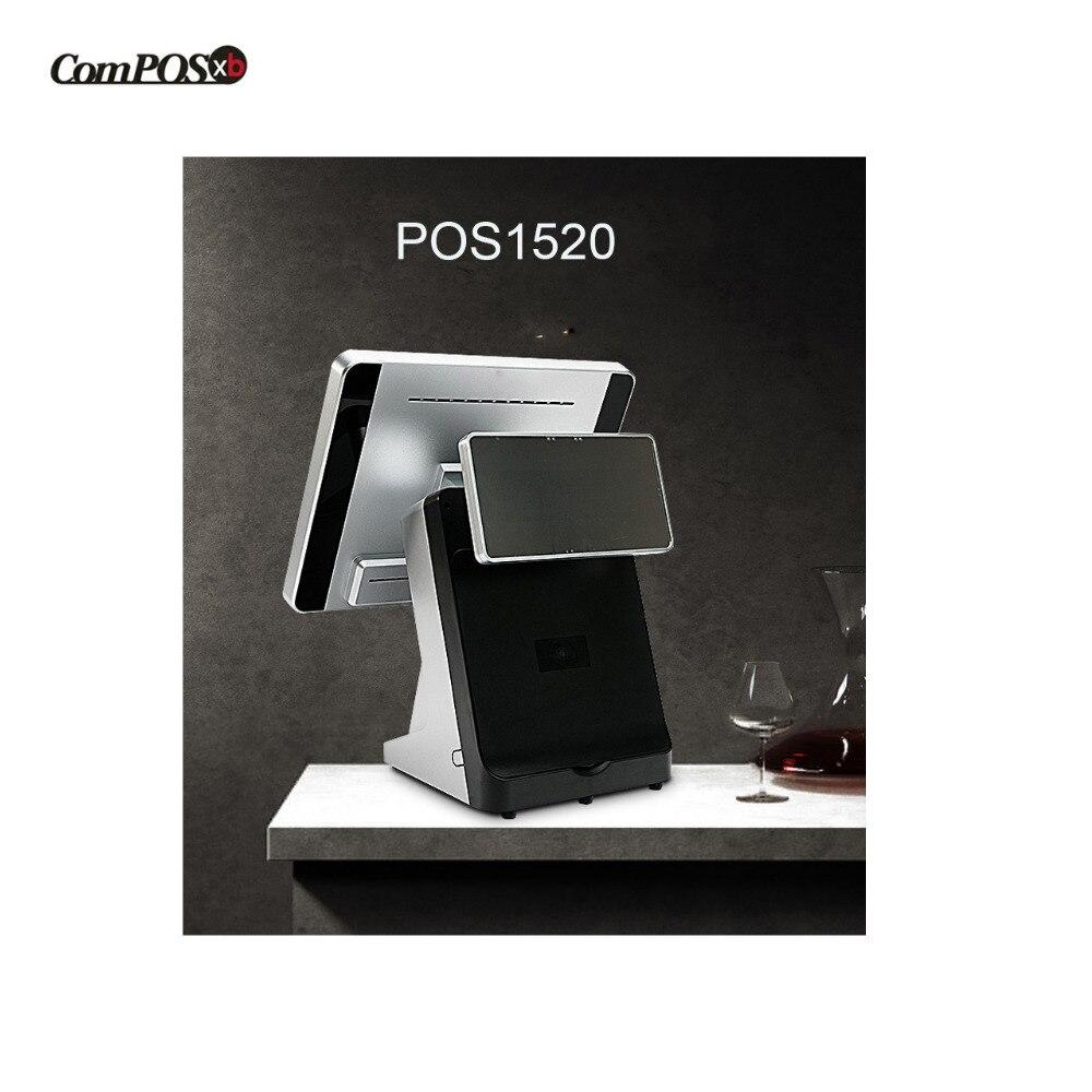 Doppio schermo 15 + 12 pollici POS sistema POS terminale costruito in stampante termica A Prezzi Accessibili