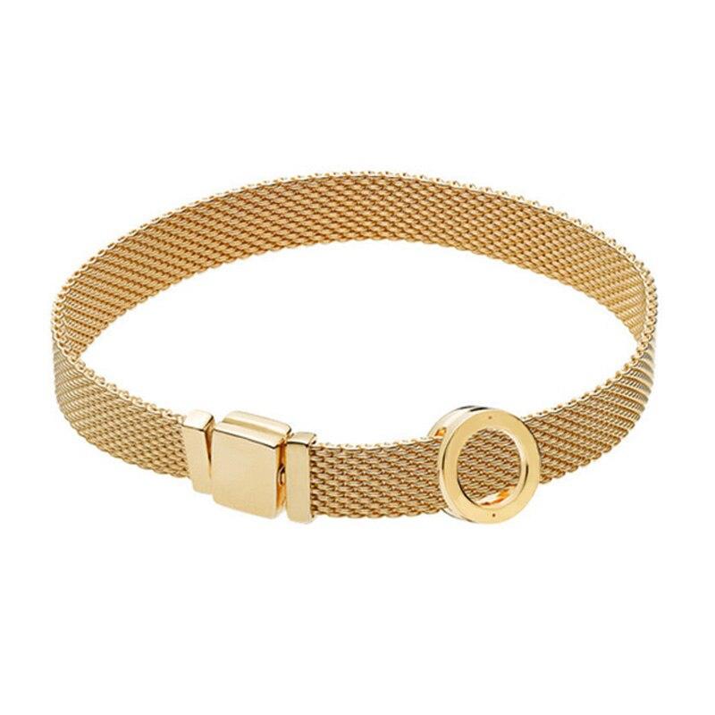 Nouveau 100% 925 Bracelet en argent Sterling réflexions ensemble brillant or rond élégant Fit européen bricolage Original charme perle bijoux cadeau