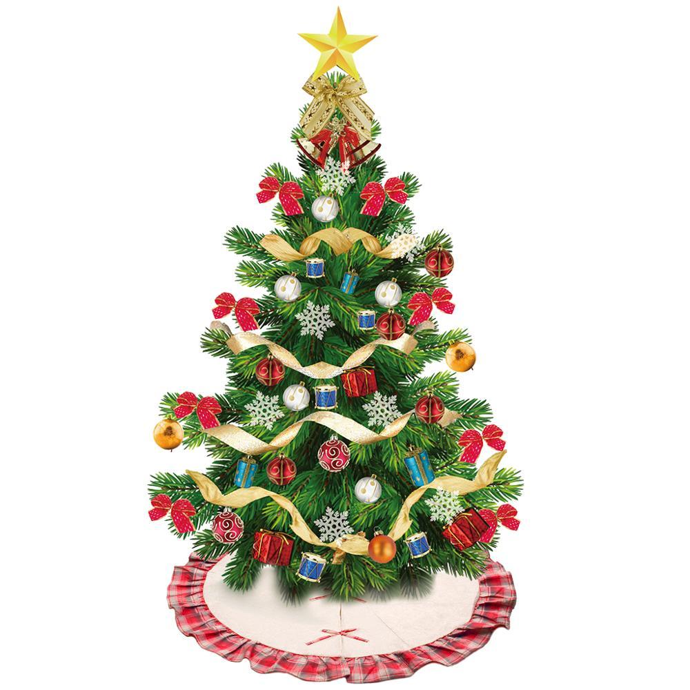 Linen Christmas Tree Skirt: 1X Christmas Tree Skirt Dress Linen Burlap Xmas Tree Skirt