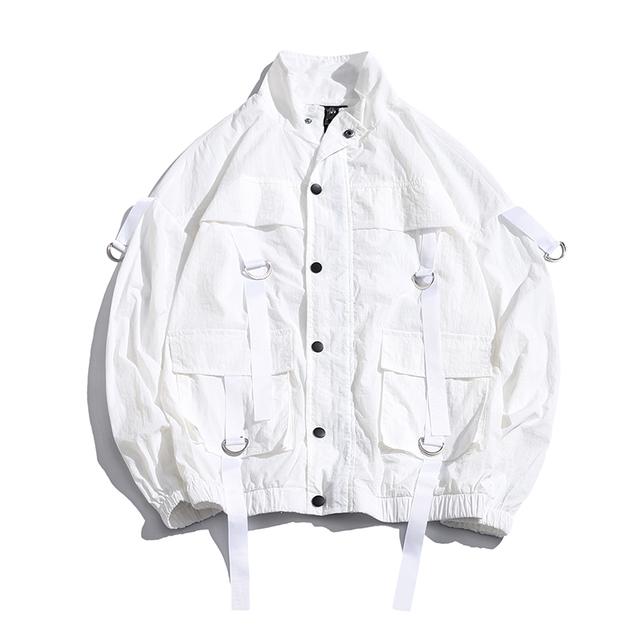 2019 New Arrival Men Fashion Men's Overalls Thin Bomber Jacket Summer Ribbons Loose Pocket Coat Hip Hop Wind Jacket US Size
