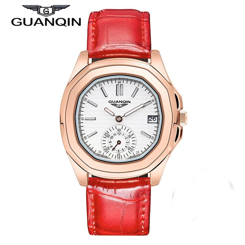 GUANQIN brand Women casual wristwatches Ladies Steel Strap Rose Gold Quartz Watch Luminous pointer female dress clock hours цена и фото