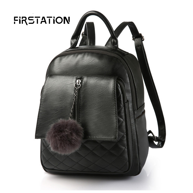 ФОТО New Fashion Women Backpack High Quality Pu Leather Mochila with Fur Ball School Bags for Teenagers Top-handle Backpacks Wm0462