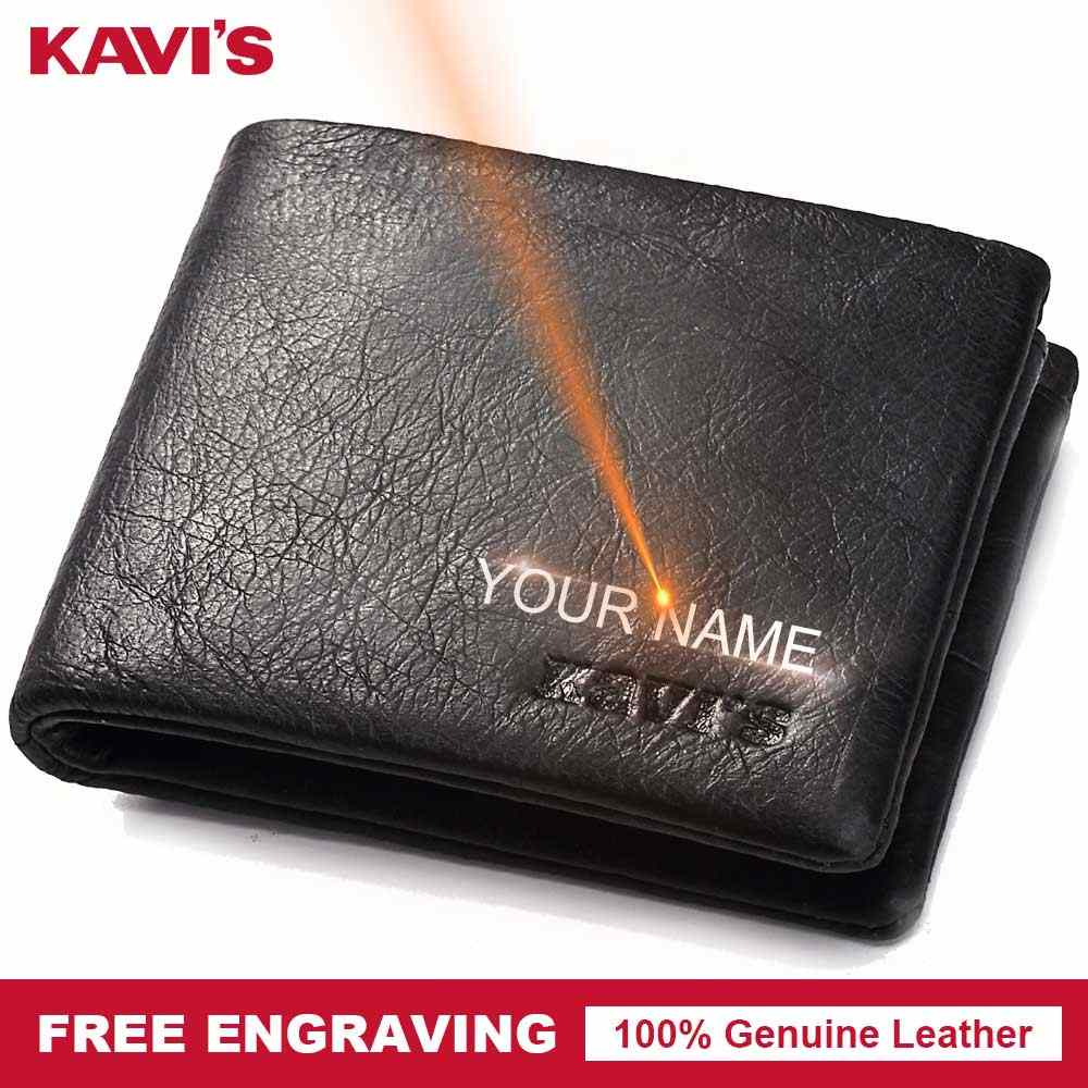 KAVIS Genuine Leather Small Wallet Men Coin Purse Male Cuzdan Portomonee Man PORTFOLIO Walet Card Holder Free Engraving Name
