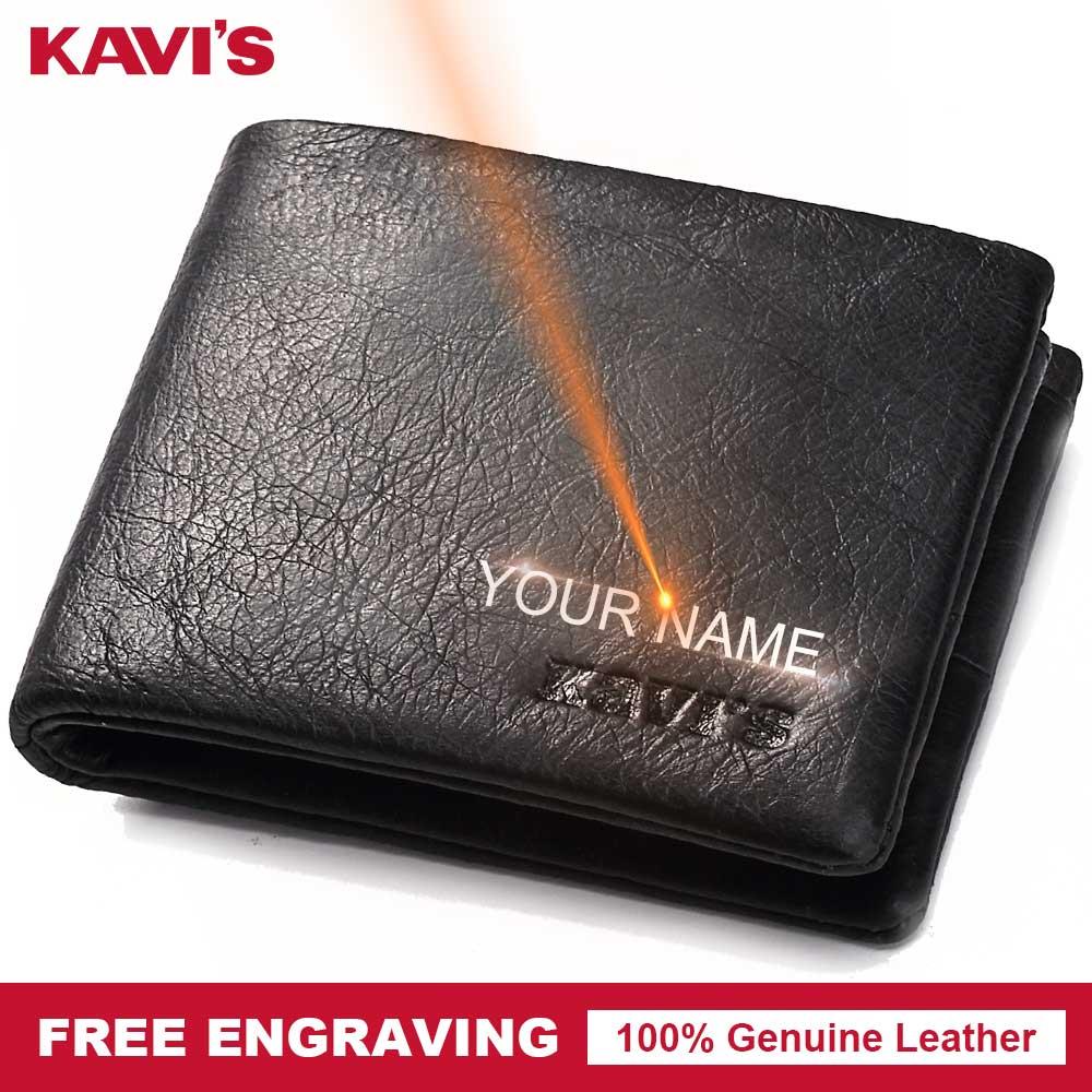 KAVIS Genuine Leather Small Wallet Men Coin Purse Male Cuzdan Portomonee Man PORTFOLIO Walet Card Holder Free Engraving Name