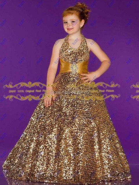 Stunning Beautiful Girls Pageant Dresses With Sequins Gold Kids Evening  Dress Halter Ball Gown Flower Girl Dress Custom HYD511 2f191eb4ede0