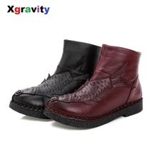 Xgravity Snow Lady Boots Genuine Leather Woman Short Ankle Lady Handmade Women Shoes Hot 3D Fish
