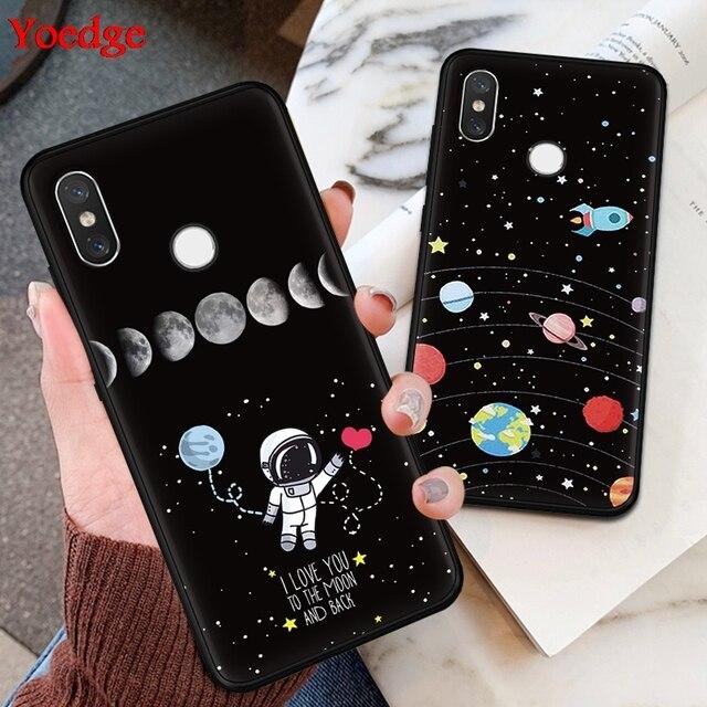 Nhà du hành vũ trụ Mặt Trăng Dành Cho Tiểu mi Đỏ mi S2 K20 4A 5 Plus 6A 7 Note 4X5 5A 6 7 Pro Cho Xiao Mi Mi 9 A1 5X A2 6X8 Lite F1 Mềm Mại Ốp Lưng