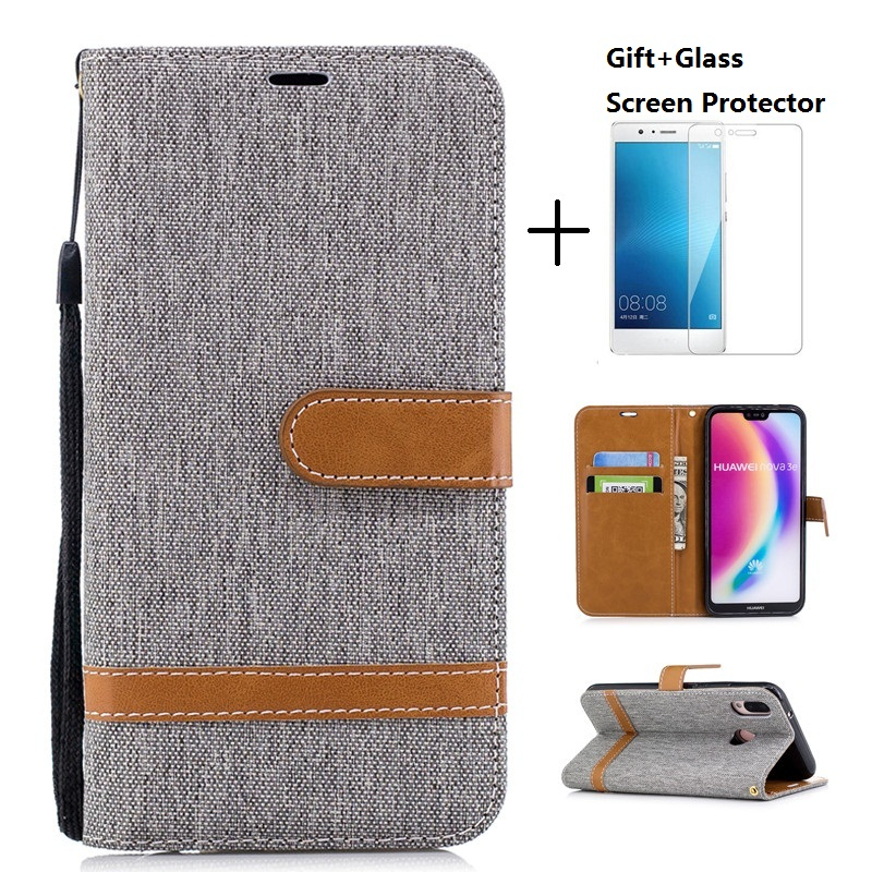 Denim Fabric PU Leather Protective <font><b>Case</b></font> Cover For <font><b>HuaWei</b></font> <font><b>P9</b></font> P10 P10 <font><b>Lite</b></font> P20 P20 <font><b>Lite</b></font> With <font><b>Glass</b></font> Screen Protector image
