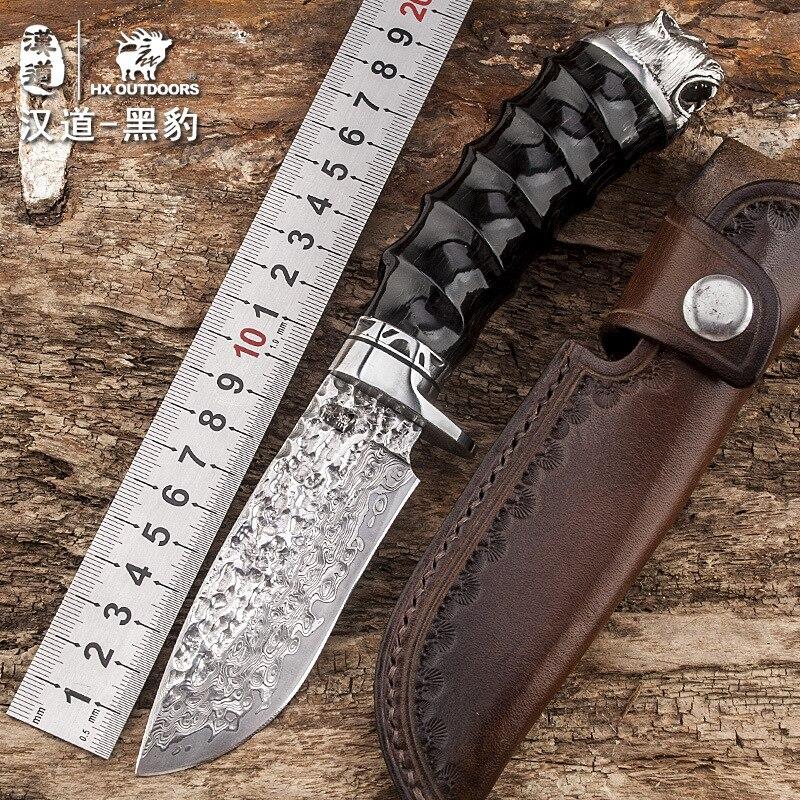 HX на открытом воздухе пантера Дамасская сталь высокого твердость прямой нож поле нож выживания самообороны портативный высокое качество н
