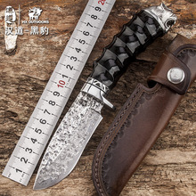 HX OUTDOORS Panther Damascus steel high hardness straight knife field survival knife self-defense portable High quality knife